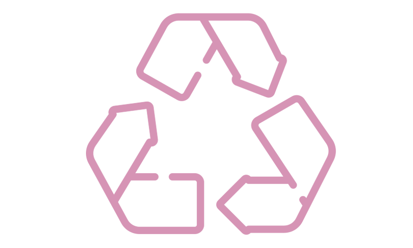 Kierrätys ikoni, kolmion muodossa kiertävät nuolet, pinkki
